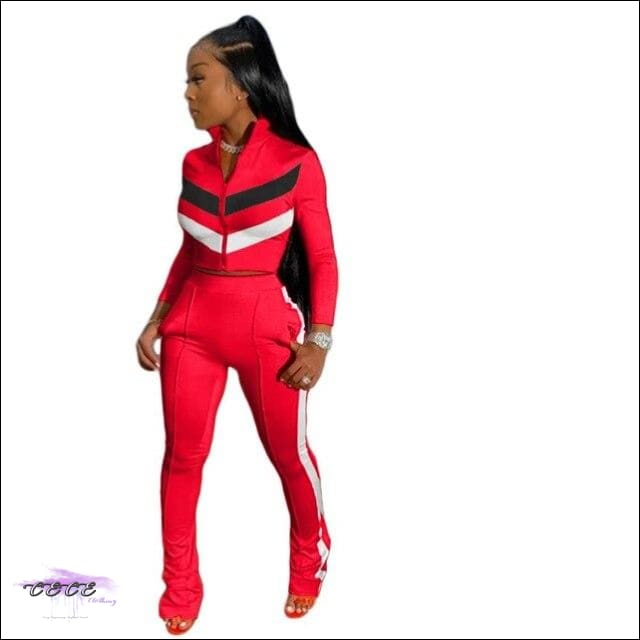 'Sexy In These Streets' Two Piece Tracksuit Set red suit / S