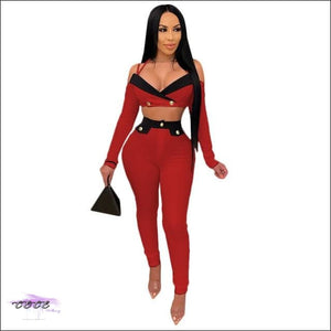 'Sexy In Various Ways' Patchwork Off Shoulder Two Piece Set red / 2X