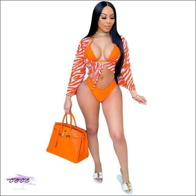 'Sexy On Da Beach' Leopard Zebra Print 3 Piece Set orange set / S / CN
