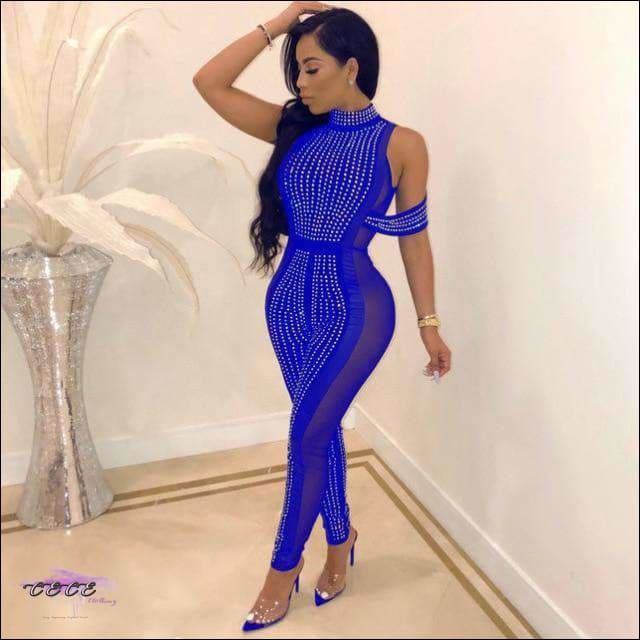 Sexy Sheer Mesh Sequin Jumpsuit Blue / S