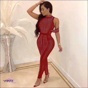 Sexy Sheer Mesh Sequin Jumpsuit Red / S