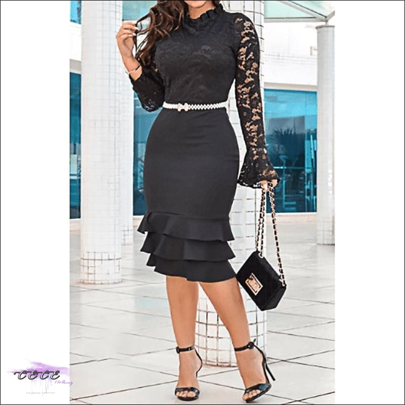 Sexy Should Be My Profession Lace Patchwork Ruffle Hem Bodycon Dress black dress / S