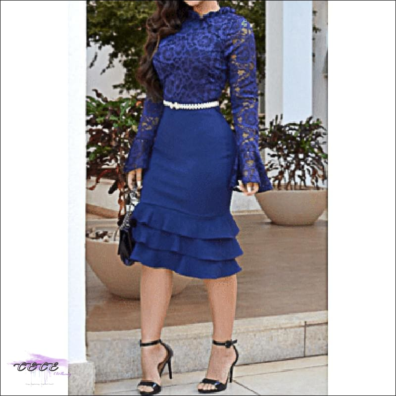 Sexy Should Be My Profession Lace Patchwork Ruffle Hem Bodycon Dress blue dress / 2X
