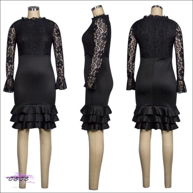 Sexy Should Be My Profession Lace Patchwork Ruffle Hem Bodycon Dress