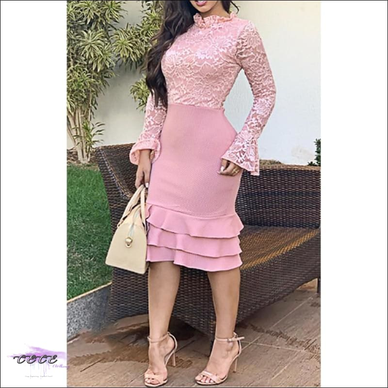 Sexy Should Be My Profession Lace Patchwork Ruffle Hem Bodycon Dress pink dress / S