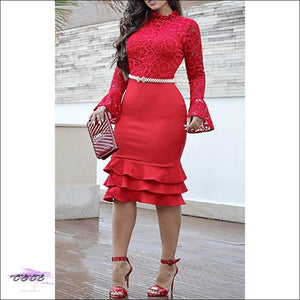 Sexy Should Be My Profession Lace Patchwork Ruffle Hem Bodycon Dress red dress / L