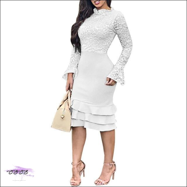 Sexy Should Be My Profession Lace Patchwork Ruffle Hem Bodycon Dress white dress / M