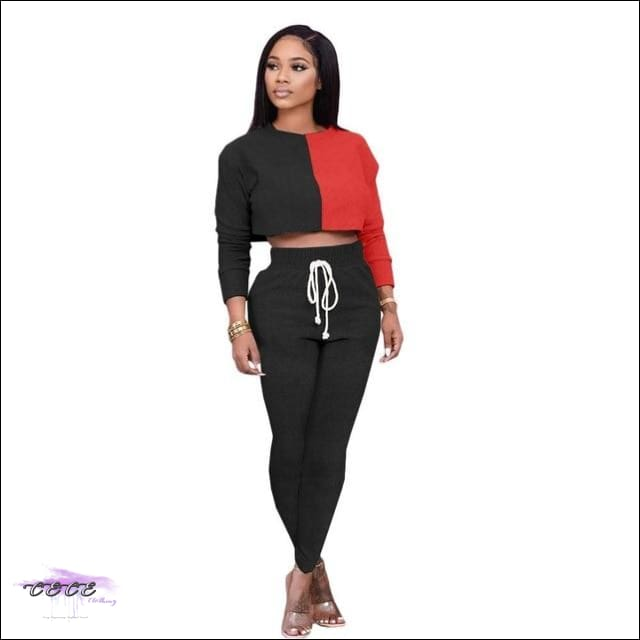 'Sexy Should By My Name' Two Piece Patchwork Tracksuit black / XXL / United States