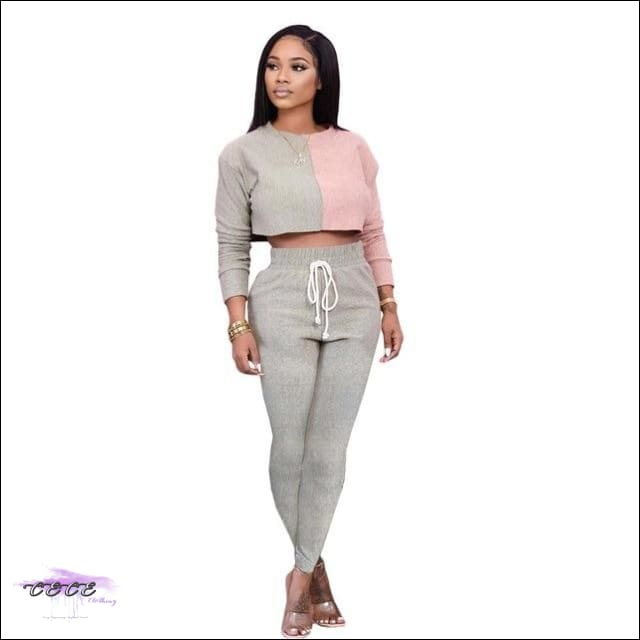 'Sexy Should By My Name' Two Piece Patchwork Tracksuit gray / M / United States