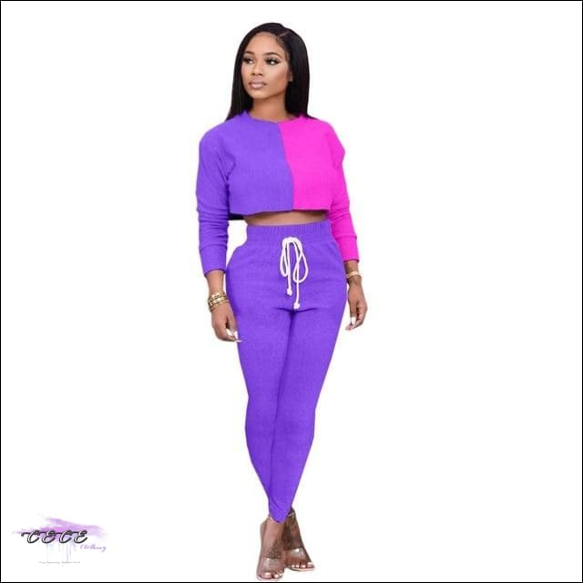 'Sexy Should By My Name' Two Piece Patchwork Tracksuit purple / L / United States