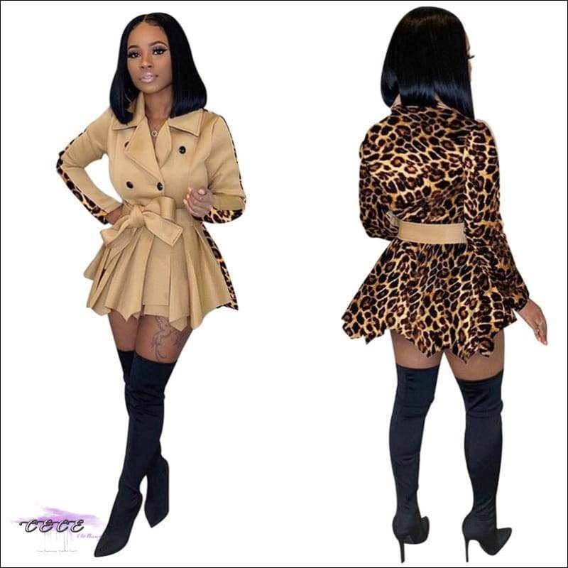 Camo Leopard Double Breasted Pleated Ruffle Coat