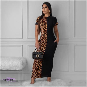 Sexy Two-Tone Leopard Short Sleeve Maxi Dress Black / M