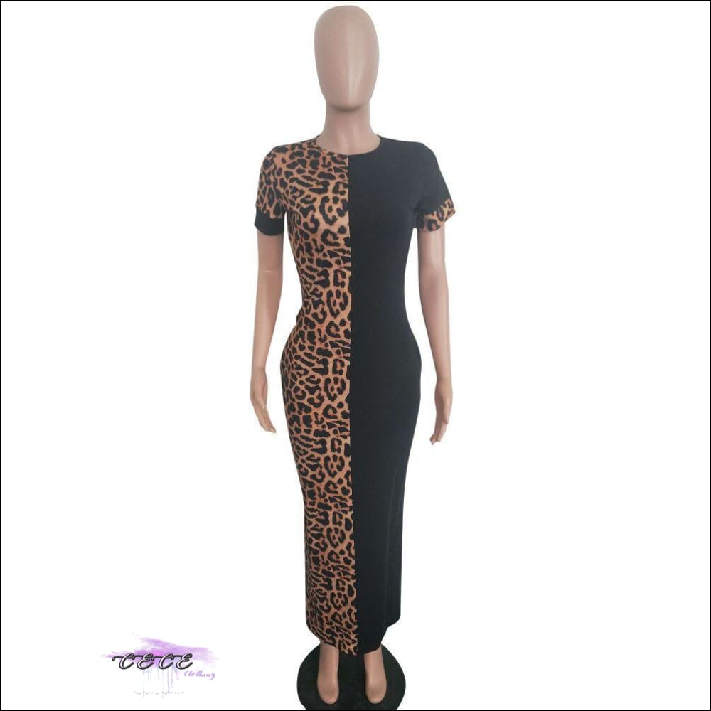 Sexy Two-Tone Leopard Short Sleeve Maxi Dress
