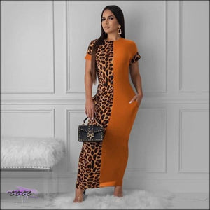 Sexy Two-Tone Leopard Short Sleeve Maxi Dress Orange / S