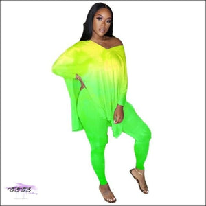 'Sexy Year Round' Flipping Color Two Piece Set yellow green / M