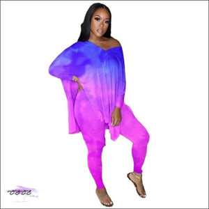 'Sexy Year Round' Flipping Color Two Piece Set blue purple / S