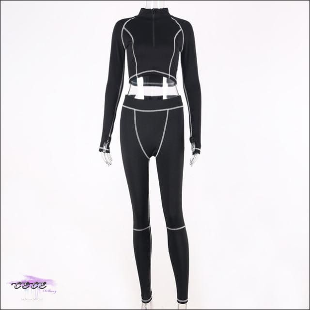 'Sportin These Killer Curves' Two Piece Mesh Tracksuit black 2 piece set / M / United States