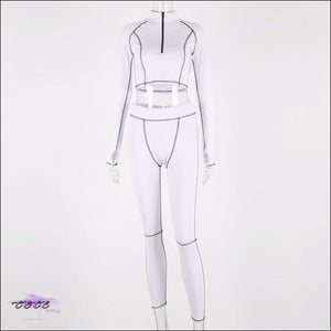 'Sportin These Killer Curves' Two Piece Mesh Tracksuit white 2 piece set / L / United States
