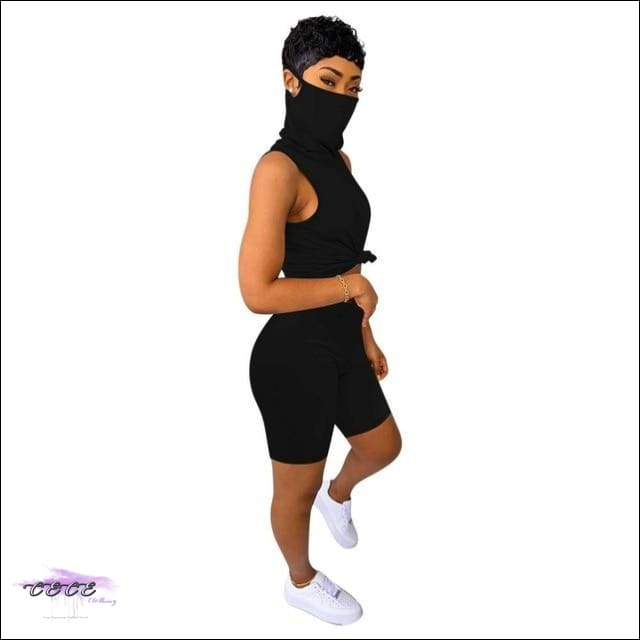 'Staying Safe & Sexy' Sleeveless Two Piece Tracksuit Set (With Mask) Black / 1X