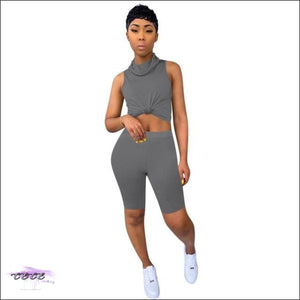 'Staying Safe & Sexy' Sleeveless Two Piece Tracksuit Set (With Mask) Gray / S