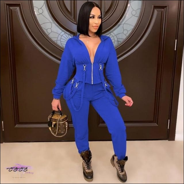 'Staying Sexy Is A Grind' Skintight Two Piece Zipped Hooded Tracksuit blue / L