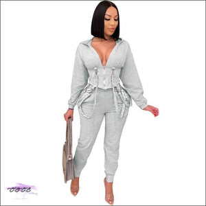 'Staying Sexy Is A Grind' Skintight Two Piece Zipped Hooded Tracksuit gray / 1X