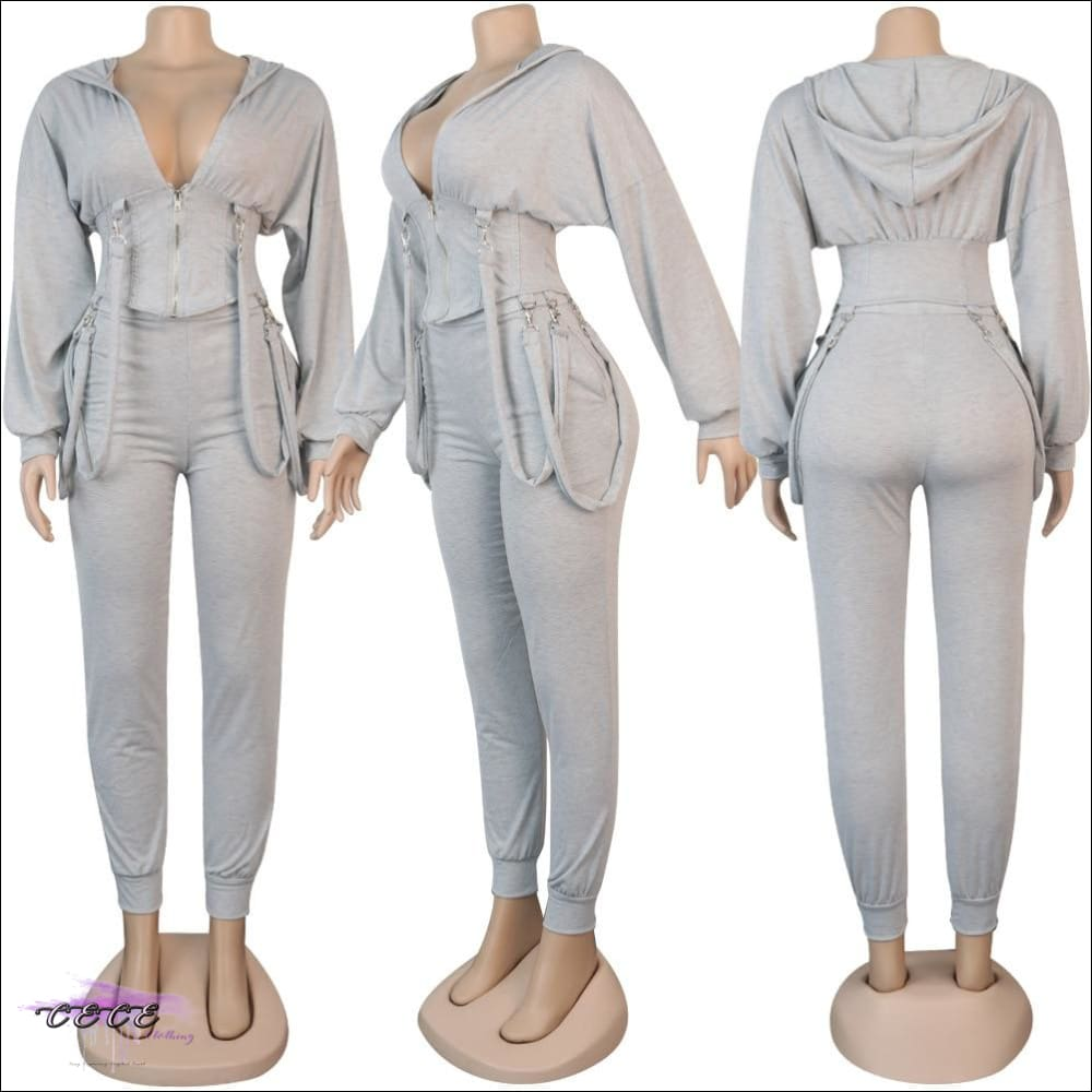 'Staying Sexy Is A Grind' Skintight Two Piece Zipped Hooded Tracksuit