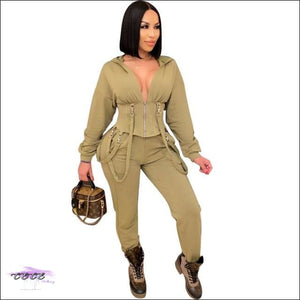 'Staying Sexy Is A Grind' Skintight Two Piece Zipped Hooded Tracksuit Olive green / S