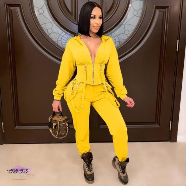 'Staying Sexy Is A Grind' Skintight Two Piece Zipped Hooded Tracksuit Yellow / L