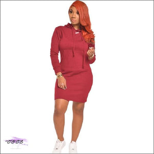'Staying Sexy On My Grind' Hooded Mini Dress burgundy / 1X