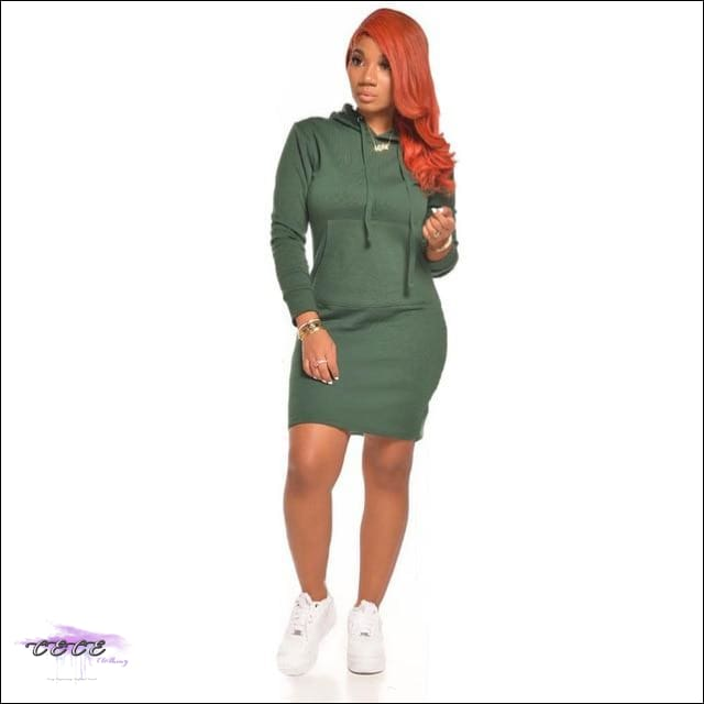 'Staying Sexy On My Grind' Hooded Mini Dress green / L