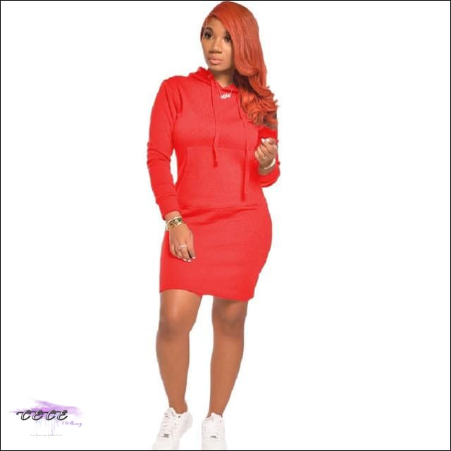 'Staying Sexy On My Grind' Hooded Mini Dress red / S