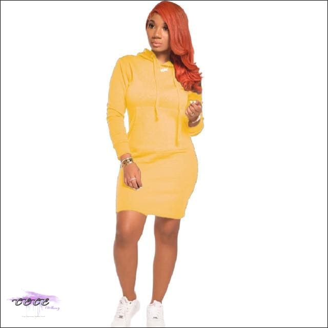 'Staying Sexy On My Grind' Hooded Mini Dress yellow / 2X