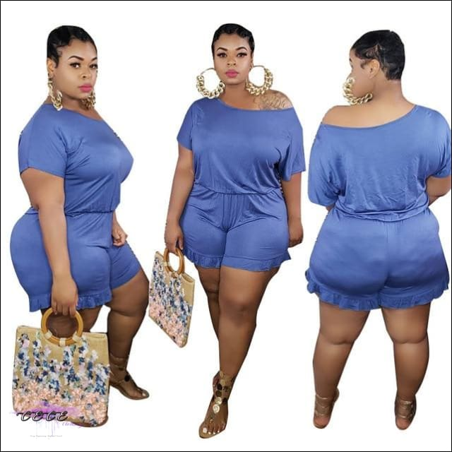 'Staying Thick Is A Must' Solid Plus Size Jumpsuit blue jumpsuit / 1X / United States