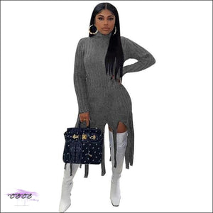 'Staying Warm & Flawless' Ribbed Turtleneck Sweater Tassel Mini Dress gray dress / S / United States