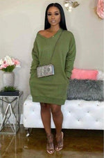 Staying Warm & Sexy Casual Loose Sweater Dress Green / 1X
