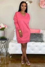 Staying Warm & Sexy Casual Loose Sweater Dress Pink / 1X