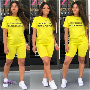 Adogirl Letter Print Short Sleeve T Shirt Top Solid Shorts Women Set 2020 Summer Fashion Leisure 2 Yellow / M