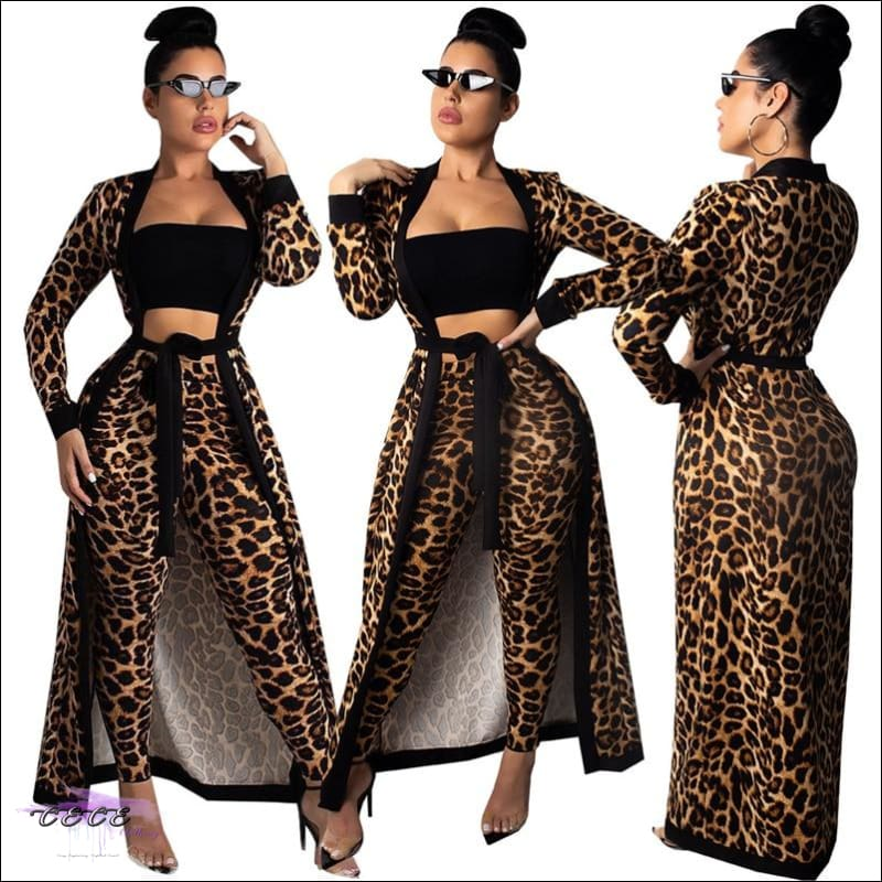Stopping Traffic Leopard Two Piece Set (Cardigan + Pencil Pants)