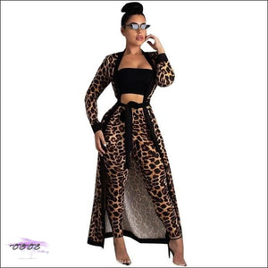 Stopping Traffic Leopard Two Piece Set (Cardigan + Pencil Pants) S