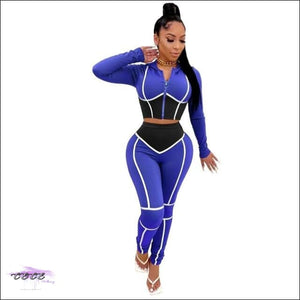 'Striped Down Curves' Two Piece Hoodie Tracksuit blue 2 piece set / L / United States