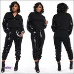 Styling On Em Sequin Casual Two Piece Tracksuit Black / 1X