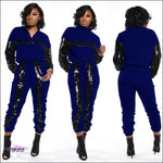 Styling On Em Sequin Casual Two Piece Tracksuit Blue / L
