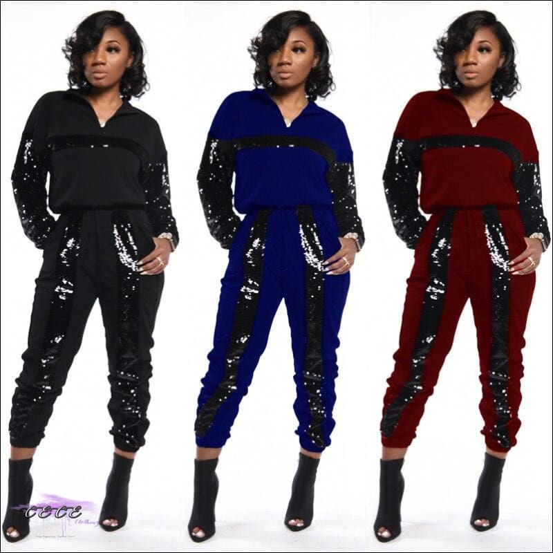 Styling On Em Sequin Casual Two Piece Tracksuit