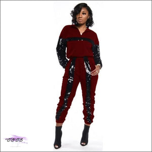 Styling On Em Sequin Casual Two Piece Tracksuit Red / 1X