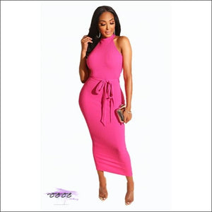 Such A Classy Lady Sleeveless Halter Midi Dress pink dress / S