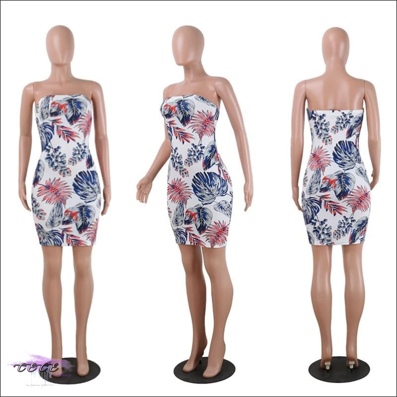 Summer All Da Time Floral Strapless Sheath Dress