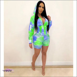 Adogirl Tie Dye Print Waist Shaping Two Piece Set Leisure Sporting Suit Long Sleeve Hooded Crop Top blue green / S