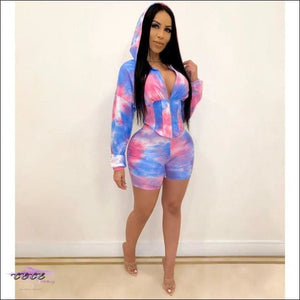 Adogirl Tie Dye Print Waist Shaping Two Piece Set Leisure Sporting Suit Long Sleeve Hooded Crop Top blue pink / L