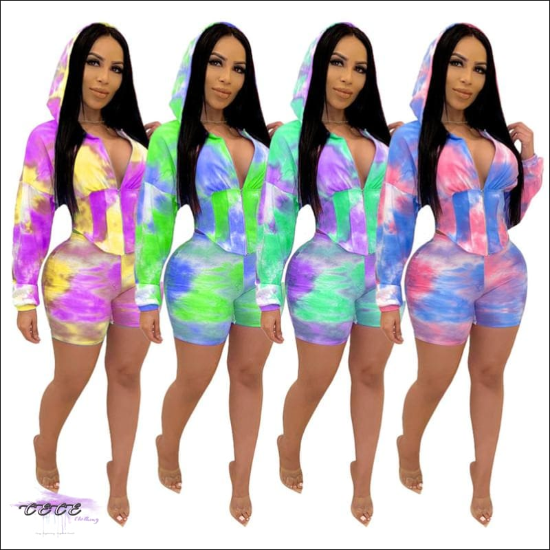 Adogirl Tie Dye Print Waist Shaping Two Piece Set Leisure Sporting Suit Long Sleeve Hooded Crop Top